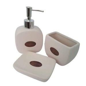 Saboneteira Jogo de banheiro de cerâmica le bain 03 peças