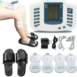 Aparelho tens digital massageador muscular fisioterapia massagem com chinelo choquinho eletroestimul