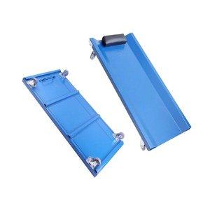 Carrinho esteira para mecanico em ferro com encosto rodas profissional azul fercar