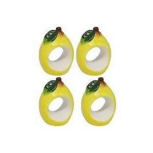 Conjunto 4 aneis p/ guardanapo cerâmica Lemons