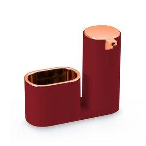 Dispenser para detergente e bucha vermelho com detalhes em rosé gold - Arthi