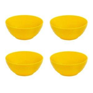 Kit Sopeira Oriental 500Ml Amarelo 4 Pç Polipropileno