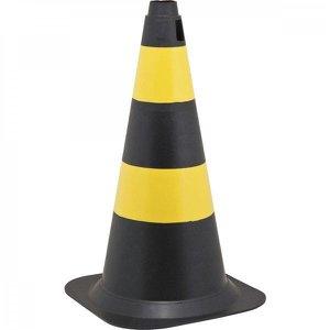 Cone de sinalização com 75 cm preto e amarelo em polietileno Vonder