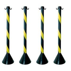 Kit com 4 Pedestais Plásticos Zebrado Preto/Amarelo 90cm Plastcor