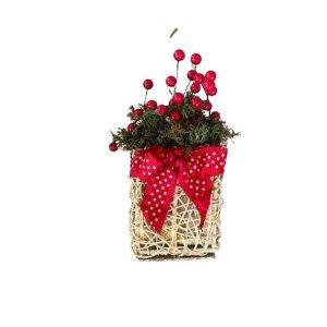 Vaso Natalino Com Laço Vermelho 28cm x 13cm