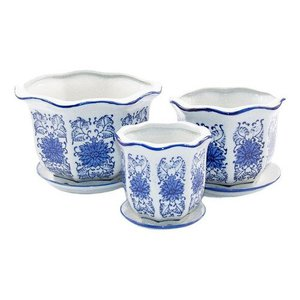Kit 3 Vasos Cerâmica Conjunto C/ Pires Azul E Branco