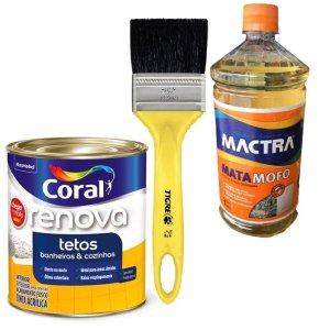 Kit Mata Mofo Mactra + Tinta Anti Mofo Coral + Pincel Média