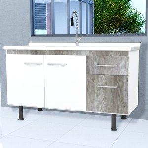 Gabinete para Cozinha 3 Portas 1 Gaveta Parma Móveis Bonatto
