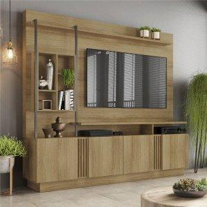 Estante Home para Tv até 65 Polegadas Industrial Ripado 4 Portas Fortuna Candian Jcm Móveis