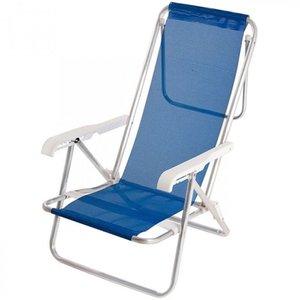 Cadeira de Praia Sannet Alumínio Reclinável 8 Pos Azul Mor