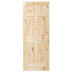 Porta De Madeira Sólida Rústica 6 Paineis 80 x 210 Cm - Goede