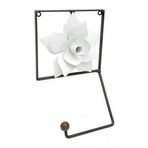 Porta Papel Higienico Artesanal De Ferro Rústico Banheiro com Rosa - Branco
