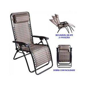 Cadeira Reclinável Trançada Preta 21 Posições Ref 9147Mor