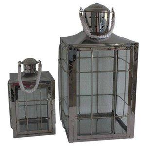 Conjunto De Lanternas Aco E Vidro - 2 Pcs - G 31.5x31.5x55 Cm P - Mem