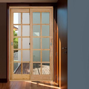 Kit Porta de Correr Madeira PE621 Gold Natural 216cm x 180cm Esel