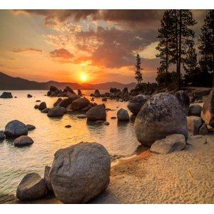 Adesivo Paisagem Natureza Lago Papel Parede Pedras GG529