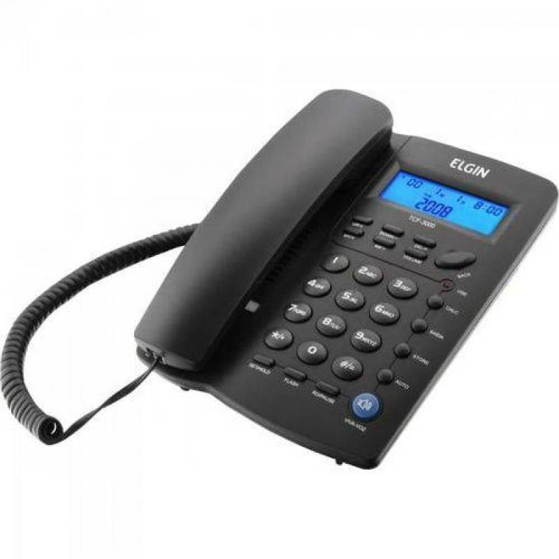 Telefone com Fio Indentificador de Chamadas Agenda para 12 Numeros Tcf 3000 Preto