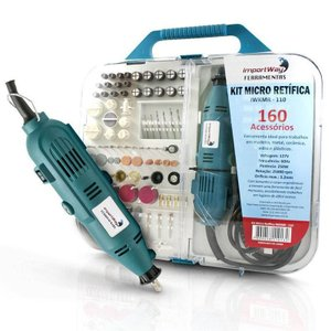 Kit Micro Retífica com Chicote Multiuso 110V 250W 160 Peças 25000 Rpm Importway IWKMR-110