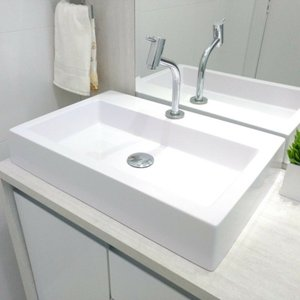 Pia / Cuba Banheiro Leme Retangular 56X38cm Branco Brilho