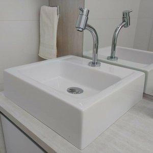 Pia / Cuba Banheiro Quadrada Perequê 40cm Branco Brilho