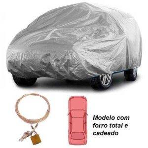 Capa Automototiva Cobrir Carro Protetora Forrada Total e Cadeado Tamanho M Carrhel