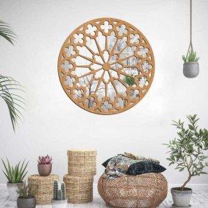 Escultura de Parede Wevans Mandala Premium, Madeira + Espelho Decorativo Único