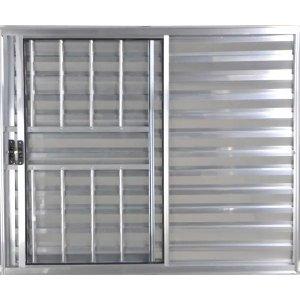 Janela Veneziana de Alumínio 3 Folhas 1,00 X 1,00 Com Grade Cor Brilhante Linha All Modular