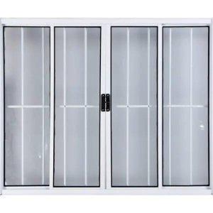 Vitro de Alumínio 4 Folhas 1,00 X 1,20 Com Grade Cor Branco Linha All Modular