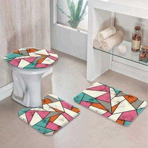 Jogo Tapetes para Banheiro Abstract Color Único