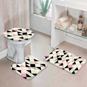 Jogo Tapetes para Banheiro Multi Triângulos Rosa Único