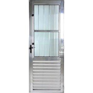 Porta De Aluminio Postigo 2,10 X 0,80 Esquerda Linha All Modular Cor Brilhante