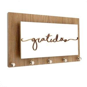 Porta Chaves e Cartas Gratidão Madeira e Branco Momento Casa