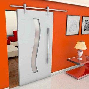 Kit de correr para porta de madeira Alumina 2 metros polido Geris