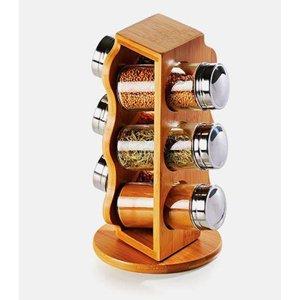 Porta temperos giratório em bambu com 6 potes de vidro