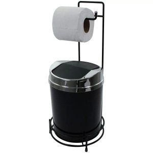 Suporte Para Papel Higiênico Preto Lixeira 5 Litros Basculante Prata - Preto