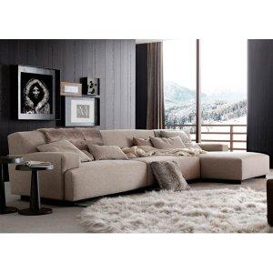 Sofá de 3 Lugares com Chaise, Revestimento Linho Sintético Creme - Enz007