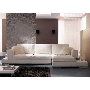 Sofá de 3 Lugares com Chaise, Revestimento Couro Sintético Branco - Esp004