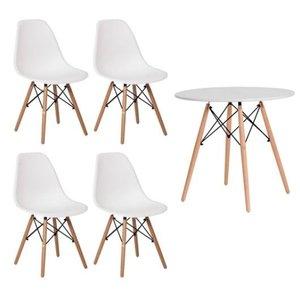 Conjunto kit Mesa Jantar Eiffel 90cm Branca + 4 Cadeiras Charles Eames Branca