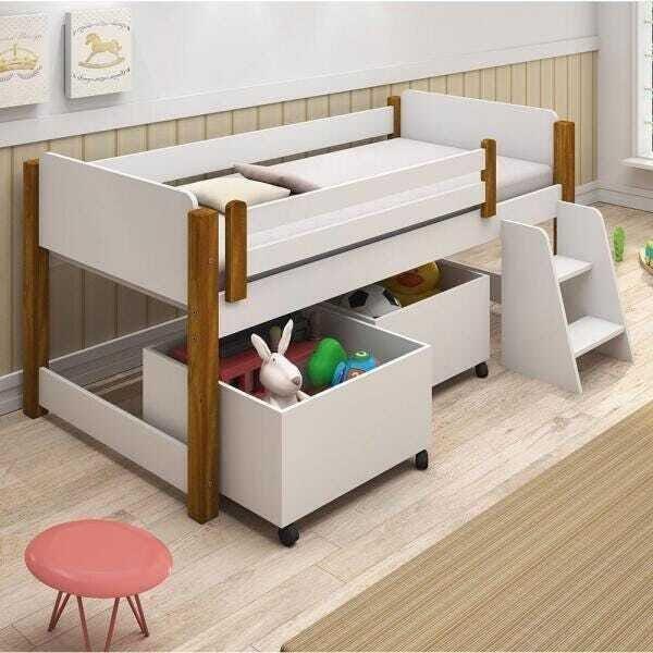 Cama Infantil com 2 baús e Escadinha Naty Branco/Amendoa