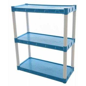 Estante Plastica Modular Azul Com 3 Prateleiras