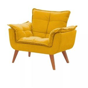 Poltrona decorativa Opala amarela pé palito MeuNovoLar