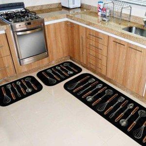Kit Tapete de Cozinha Utensílios Coloridos Único