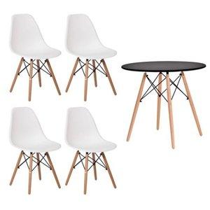 Conjunto Mesa Preta Eames 90cm e 4 Cadeiras Eames Branca