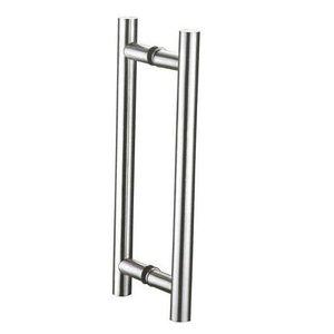 Puxador H 40cm X 30cm Inox 304 Porta Vidro Madeira Alumínio 25mm