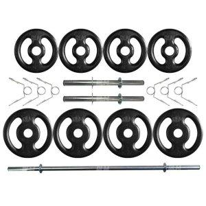 Kit com 20 Kg de Anilhas Ferro Fundido + Barras de Supino e Halteres