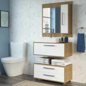 Conjunto de Banheiro Completo Grécia Balcão painel e cuba