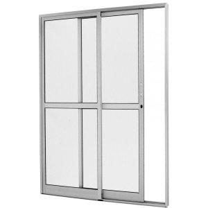Porta de Correr Alumínio 2 Folhas 1 Fixa Vidro Liso Integral Premium 210cmx120cm