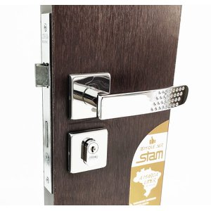 fechadura Porta externa entrada sala 803/21 quadrada cromada