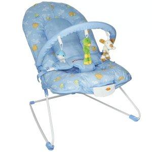 Cadeira Cadeirinha Bebê Descanso Vibratória Musical Menino Macia Azul Importway BW-045 AZ