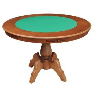 Mesa de Jogos Carteado Redonda Montreal 6 Lugares Tampo Reversível com Gavetas e Porta Copos Amê